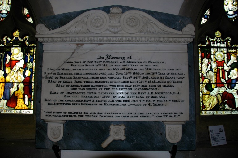 Bronte memorial in the church, Haworth