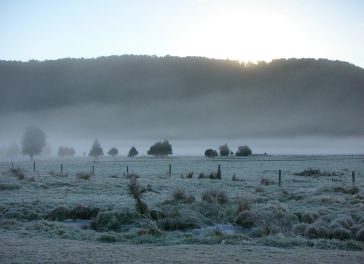 Frost and mist over the fields